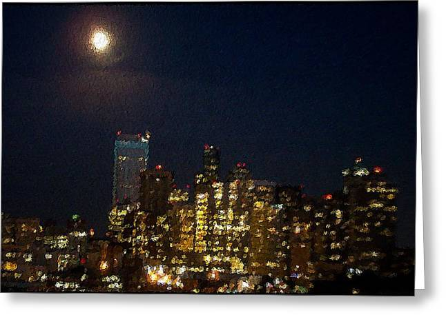 Seattle At Night Greeting Card by James Johnstone