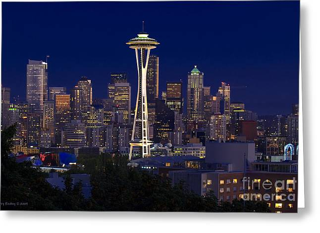 Seattle At Night Greeting Card