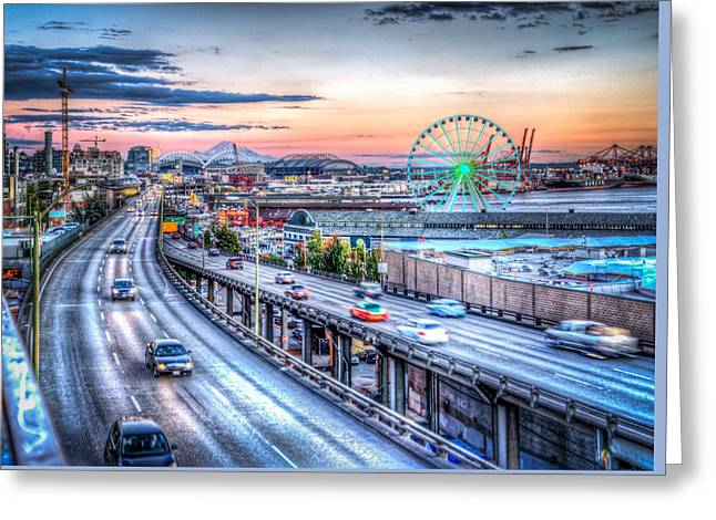 Seattle At Twilight Greeting Card