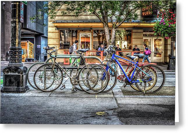 Greeting Card featuring the photograph Seattle Bicycles by Spencer McDonald