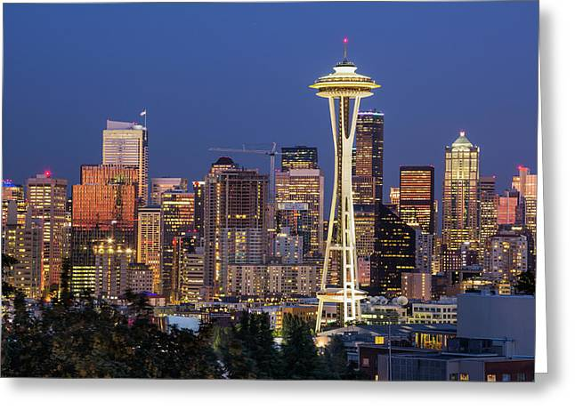 Seattle Blue Hour Greeting Card