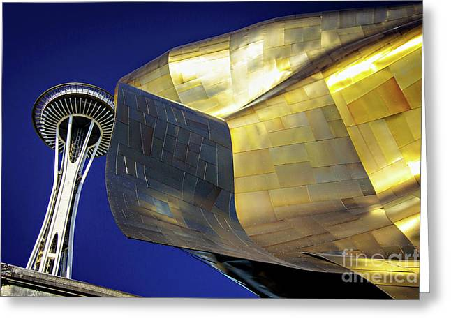 Seattle Center Needle And Museum Greeting Card by Joan McCool