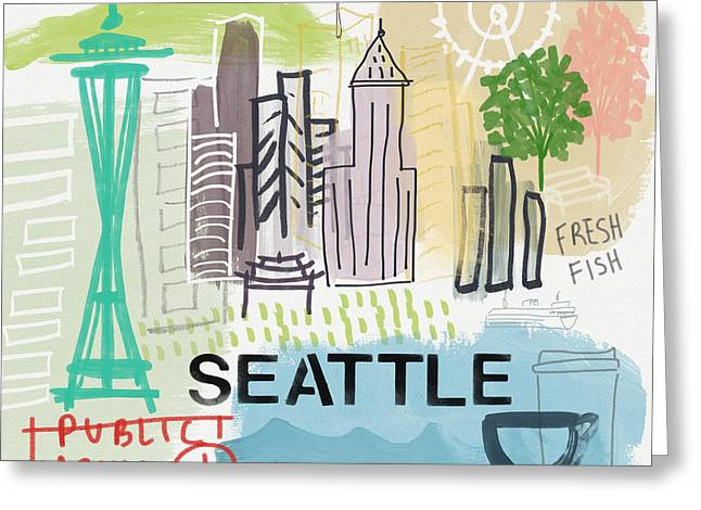 Seattle Cityscape- Art By Linda Woods Greeting Card by Linda Woods