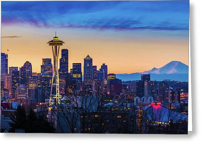 Seattle Dawn Panorama Greeting Card by Inge Johnsson