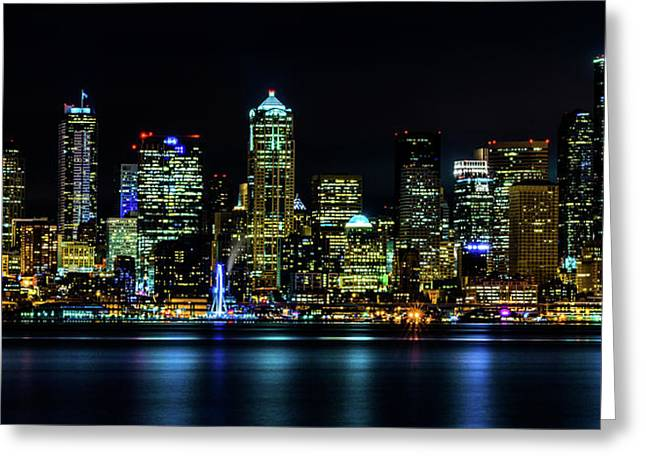 Seattle Downtown At Night Greeting Card