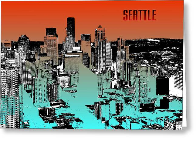 Seattle Downtown Skyline - Red Blue Greeting Card by Art America Online Gallery