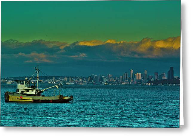Seattle Evening Greeting Card by Dale Stillman
