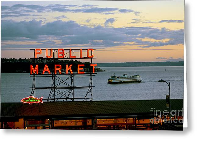 Seattle Ferry At Dusk Greeting Card by Ed Rooney