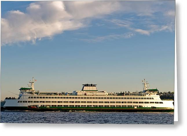Seattle Ferry Greeting Card by Tom Dowd