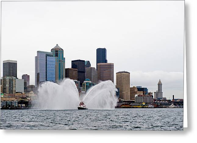 Seattle Fire Boat Greeting Card by Tom Dowd