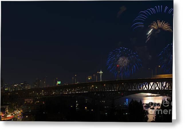 Seattle Fireworks Greeting Card by Mike Dawson