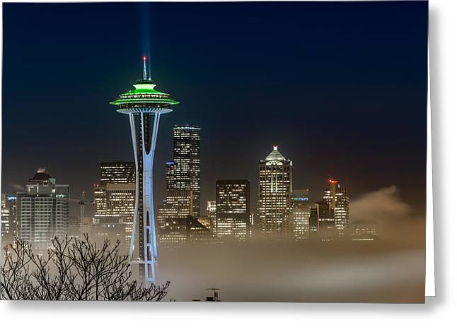 Seattle Foggy Night Lights Greeting Card by Ken Stanback