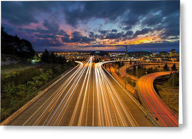 Seattle Freeway Light Trails Greeting Card