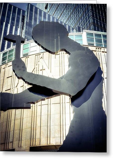 Seattle Hammering Man Greeting Card by Spencer McDonald