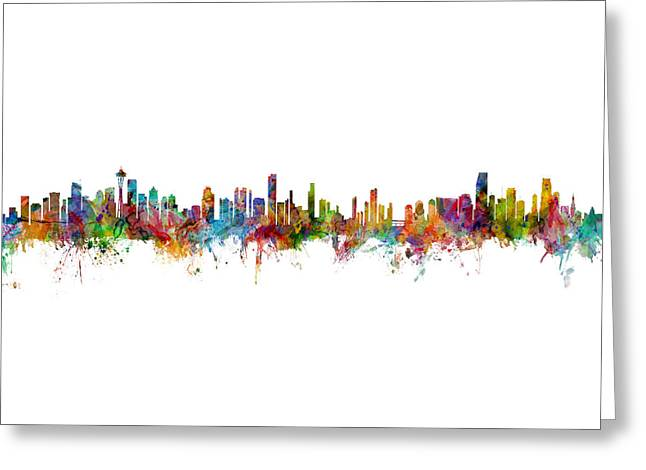 Seattle, Honolulu And Miami Skylines Mashup Greeting Card