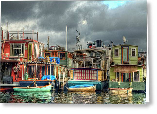 Seattle Houseboats Fine Art Photograph Greeting Card by Greg Sigrist