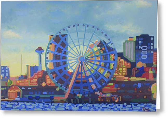 Seattle In Color  Greeting Card by Tracy Dupuis Roland