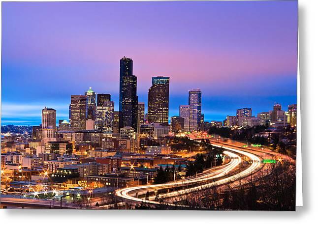 Seattle In Twilight Greeting Card by Thorsten Scheuermann