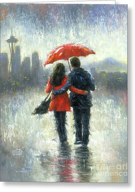 Seattle Lovers In The Rain Greeting Card by Vickie Wade
