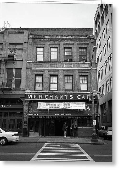 Seattle - Merchants Cafe Bw Greeting Card by Frank Romeo