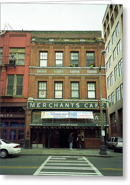 Seattle - Merchants Cafe Greeting Card by Frank Romeo