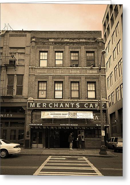 Seattle - Merchants Cafe Sepia Greeting Card by Frank Romeo