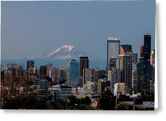 Seattle-mt. Rainier In The Morning Light .1 Greeting Card