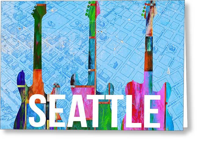 Seattle Music Scene Greeting Card by Edward Fielding