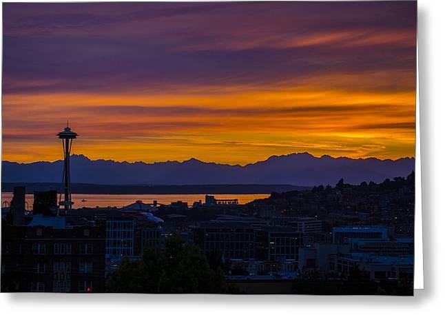 Seattle Olympic Mountain Range Sunset Greeting Card by Pelo Blanco Photo
