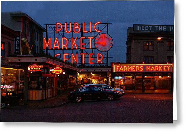 Seattle Public Market Greeting Card by Sonja Anderson