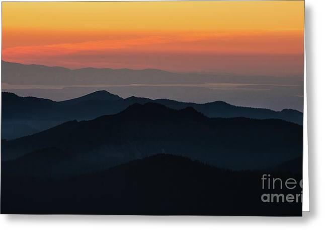 Seattle Puget Sound And The Olympics Sunset Layers Landscape Greeting Card by Mike Reid
