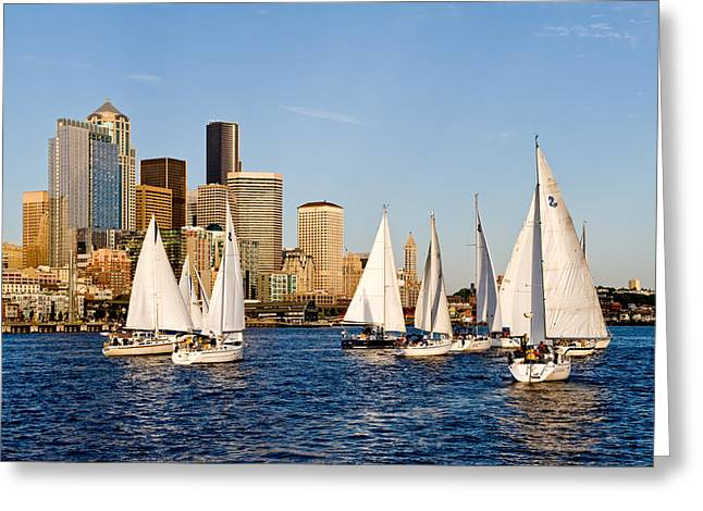 Seattle Sailboats Greeting Card by Tom Dowd