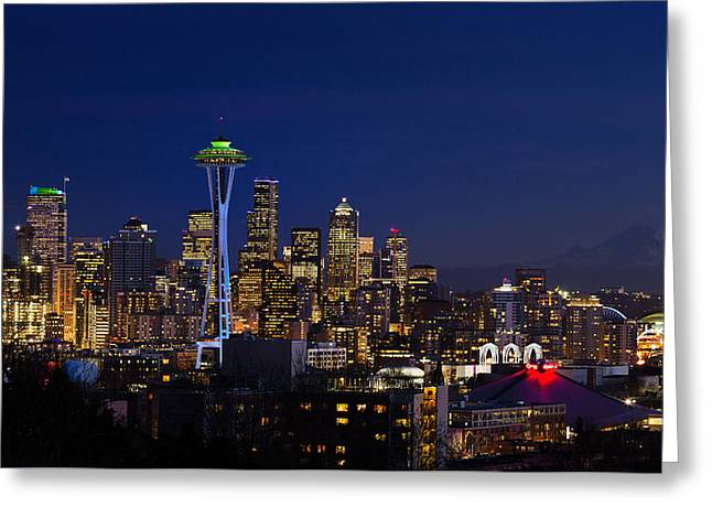 Seattle Seahawks Space Needle Greeting Card by Mary Jo Allen