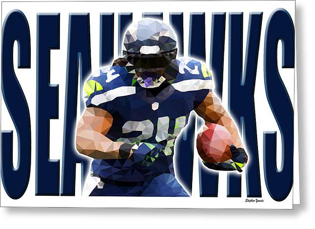 Greeting Card featuring the digital art Seattle Seahawks by Stephen Younts