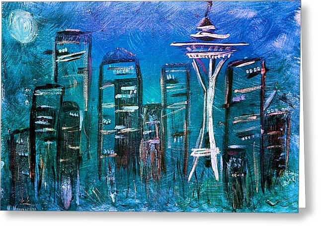 Seattle Mixed Media Greeting Cards - Seattle Skyline 2 Greeting Card by Melisa Meyers