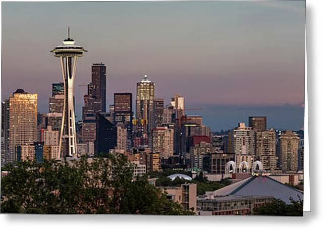 Greeting Card featuring the photograph Seattle Skyline And Mt. Rainier Panoramic Hd by Adam Romanowicz