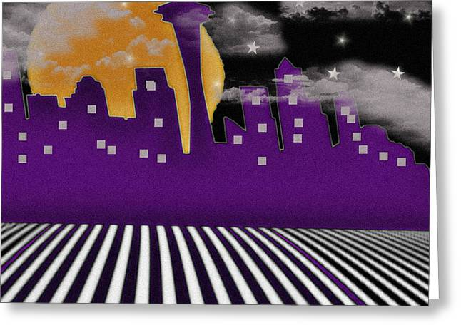 Greeting Card featuring the digital art Seattle Skyline by Digital Art Cafe