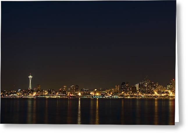 Seattle Skyline At Night Greeting Card by Stacey Lynn Payne