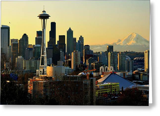 Seattle Skyline Greeting Card by Greg Sigrist