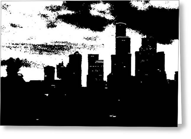 Seattle Skyline In B&w #enlight Greeting Card