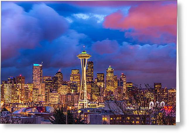 Seattle Skyline Greeting Card by Jennifer Magallon