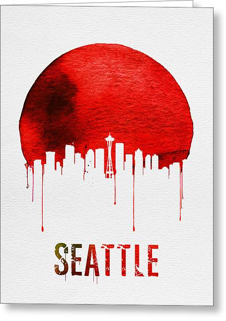 Seattle Skyline Red Greeting Card by Naxart Studio