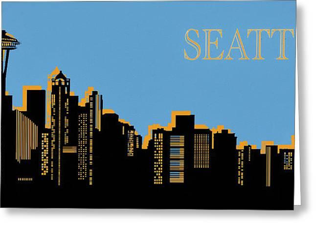 Seattle Skyline Silhouette Pop Art Greeting Card