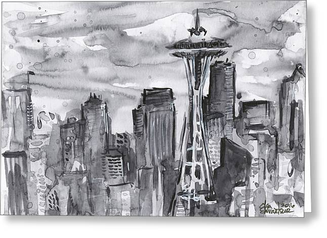 Seattle Skyline Space Needle Greeting Card by Olga Shvartsur