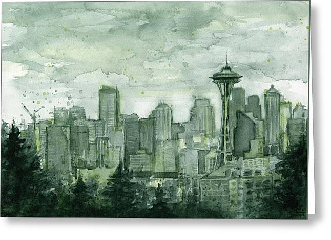 Seattle Skyline Watercolor Space Needle Greeting Card by Olga Shvartsur