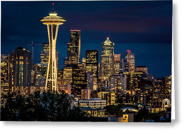 Seattle Space Needle After Dark Greeting Card