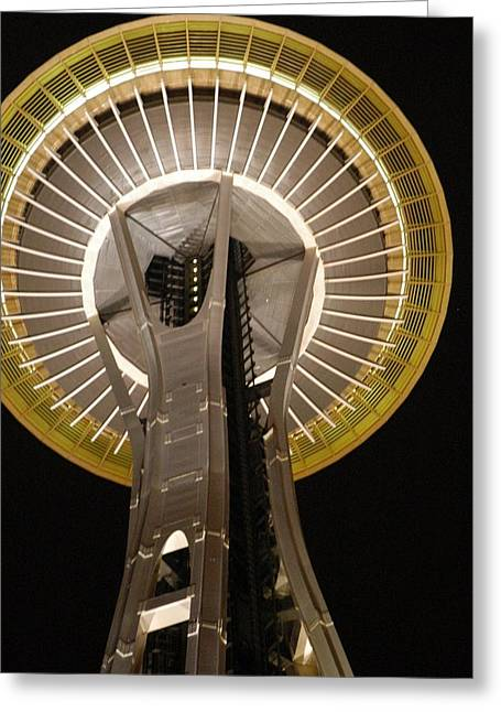 Seattle Space Needle At Night Greeting Card by Davida Parker