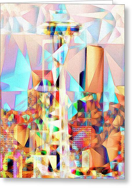 Greeting Card featuring the photograph Seattle Space Needle In Abstract Cubism 20170327 by Wingsdomain Art and Photography