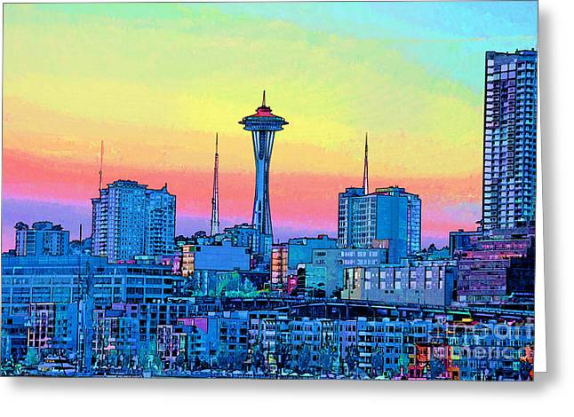 Seattle Space Needle Greeting Card by RJ Aguilar