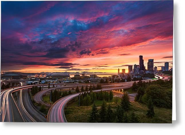 Seattle Summer Sunset Greeting Card by Thorsten Scheuermann